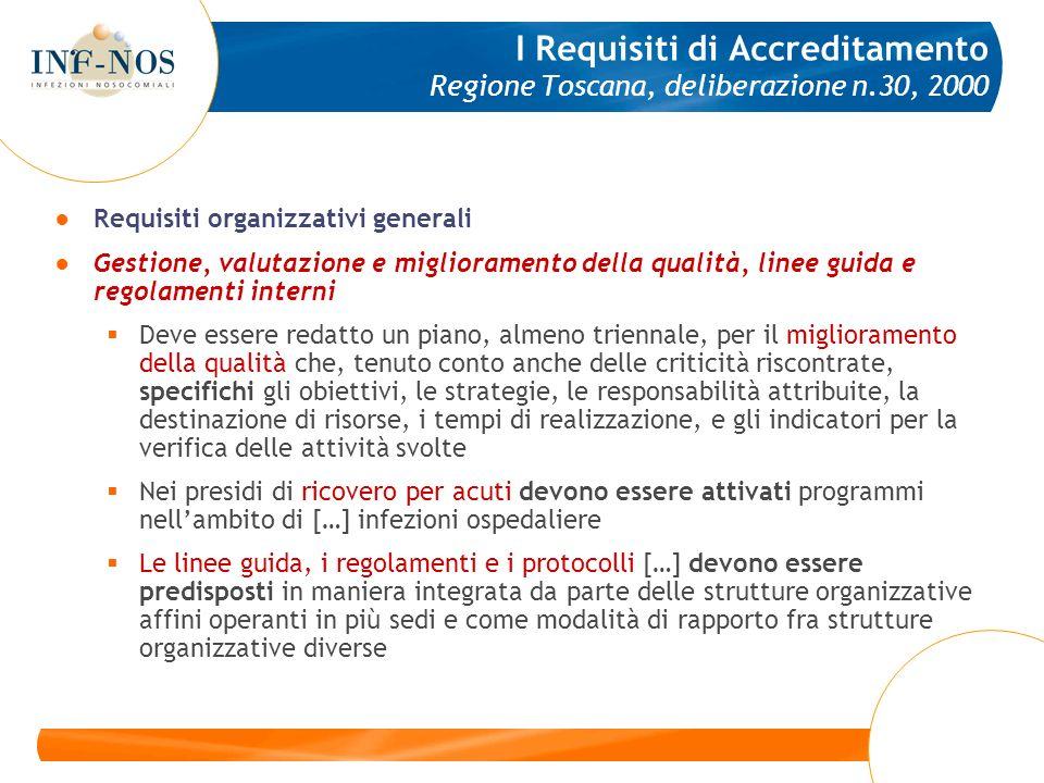 Requisiti organizzativi generali Gestione, valutazione e miglioramento della qualità, linee guida e regolamenti interni Deve essere redatto un piano,