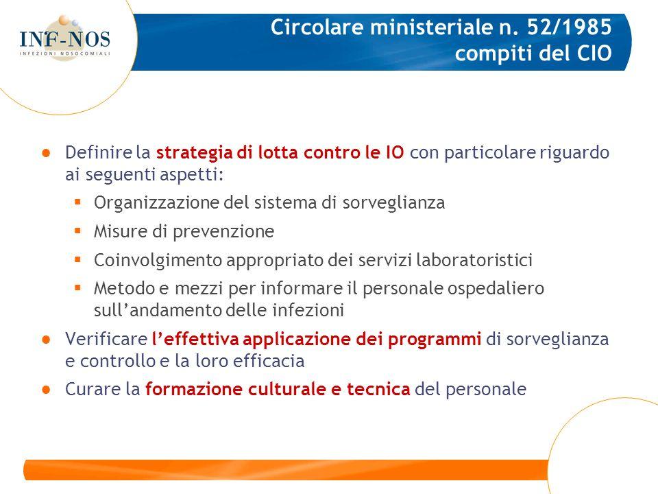 Circolare ministeriale n. 52/1985 compiti del CIO Definire la strategia di lotta contro le IO con particolare riguardo ai seguenti aspetti: Organizzaz