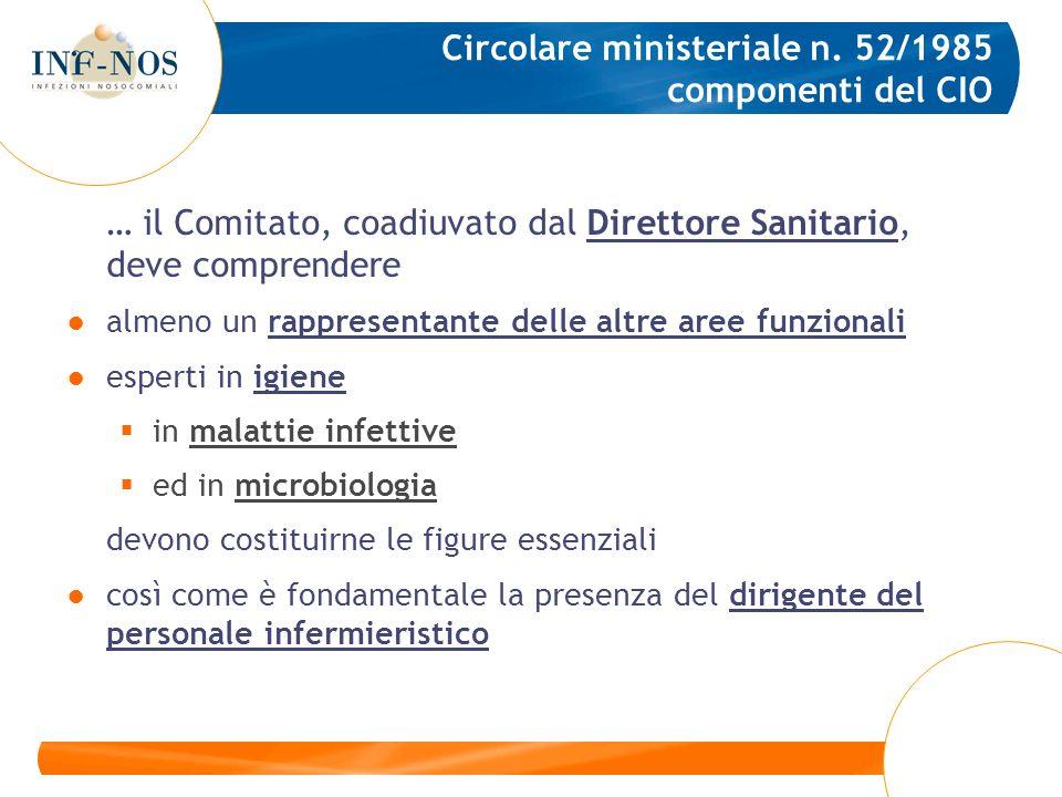 Circolare ministeriale n. 52/1985 componenti del CIO … il Comitato, coadiuvato dal Direttore Sanitario, deve comprendere almeno un rappresentante dell