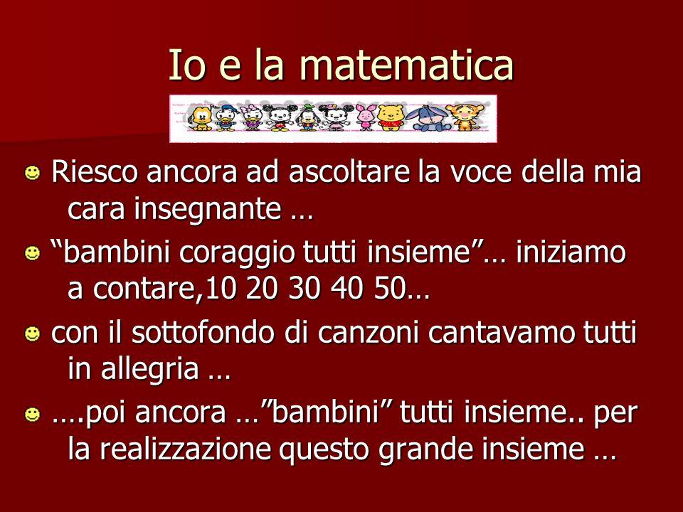 Io e la matematica addizione … sottrazione … addizione … sottrazione … Maestra .