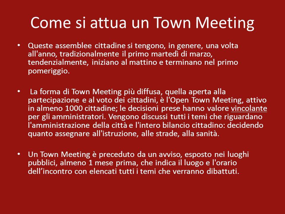 Come si attua un Town Meeting Queste assemblee cittadine si tengono, in genere, una volta all'anno, tradizionalmente il primo martedì di marzo, tenden