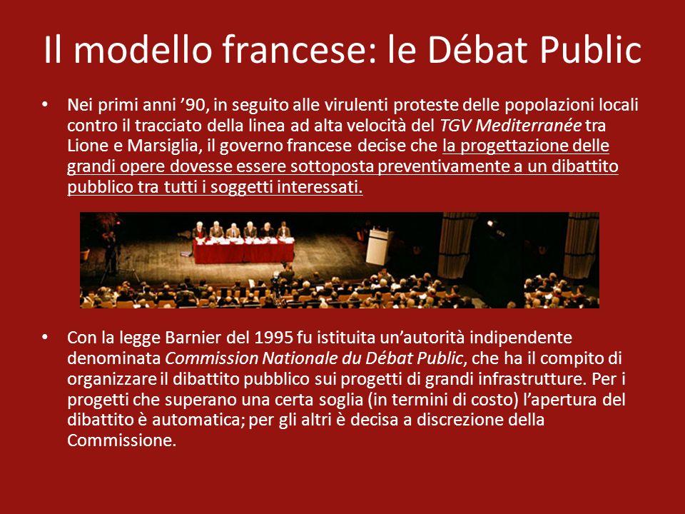 Il modello francese: le Débat Public Nei primi anni 90, in seguito alle virulenti proteste delle popolazioni locali contro il tracciato della linea ad
