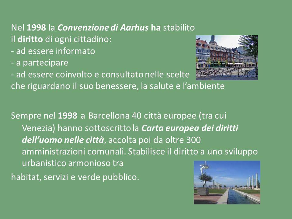 Nel 1998 la Convenzione di Aarhus ha stabilito il diritto di ogni cittadino: - ad essere informato - a partecipare - ad essere coinvolto e consultato