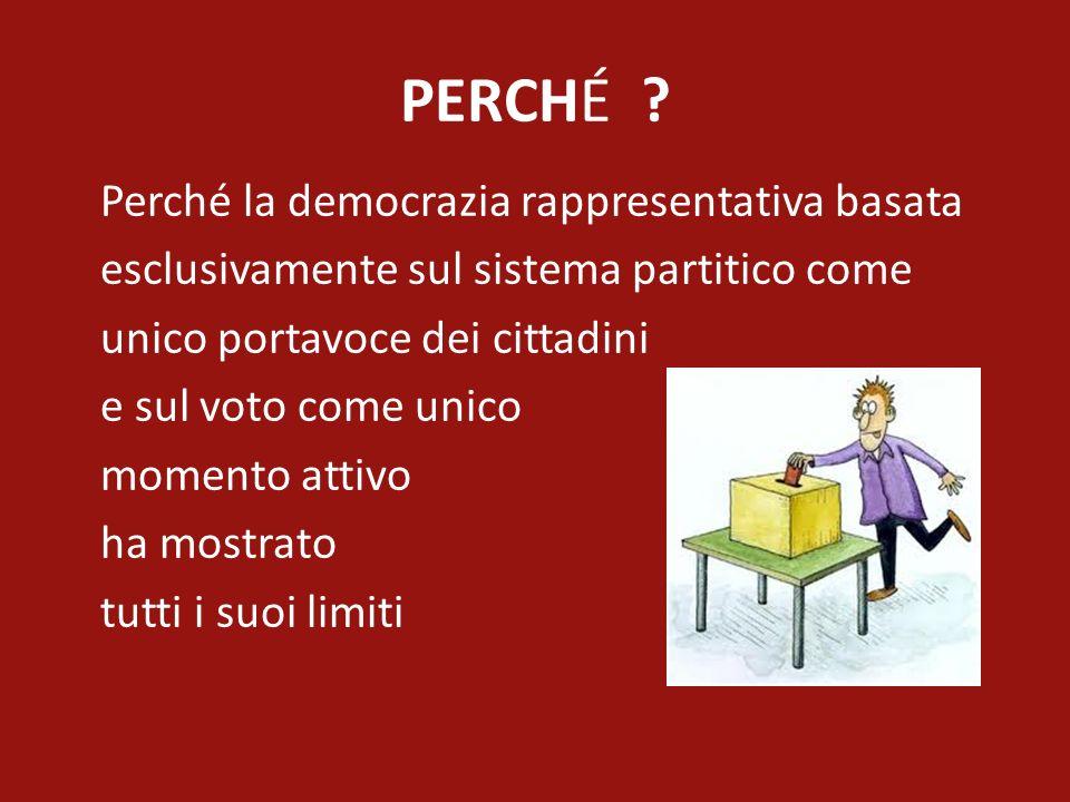 PERCHÉ ? Perché la democrazia rappresentativa basata esclusivamente sul sistema partitico come unico portavoce dei cittadini e sul voto come unico mom