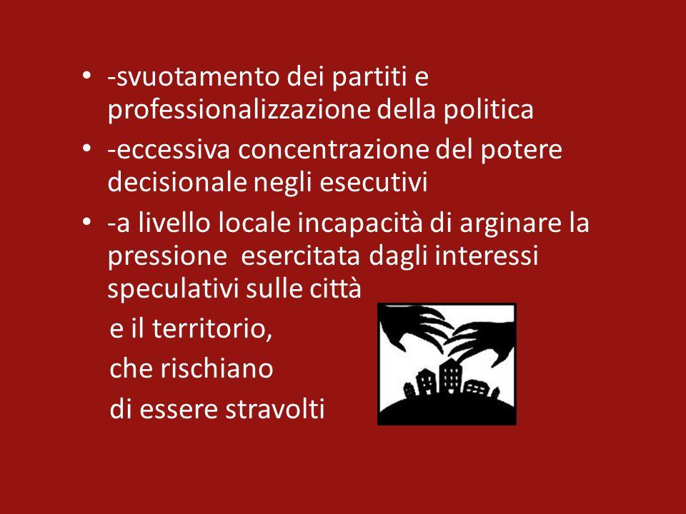 -svuotamento dei partiti e professionalizzazione della politica -eccessiva concentrazione del potere decisionale negli esecutivi -a livello locale inc