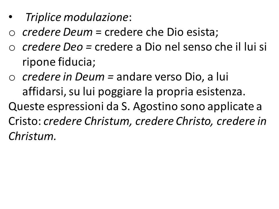 Triplice modulazione: o credere Deum = credere che Dio esista; o credere Deo = credere a Dio nel senso che il lui si ripone fiducia; o credere in Deum