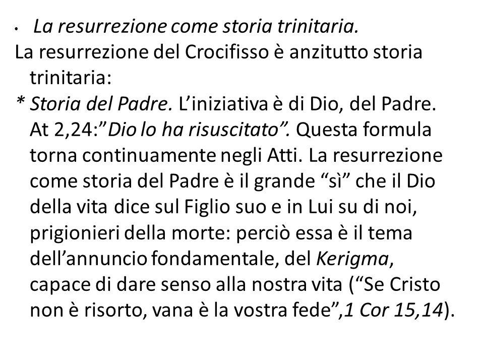 La resurrezione come storia trinitaria. La resurrezione del Crocifisso è anzitutto storia trinitaria: * Storia del Padre. Liniziativa è di Dio, del Pa