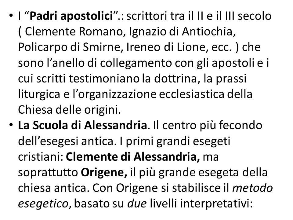 I Padri apostolici.: scrittori tra il II e il III secolo ( Clemente Romano, Ignazio di Antiochia, Policarpo di Smirne, Ireneo di Lione, ecc. ) che son