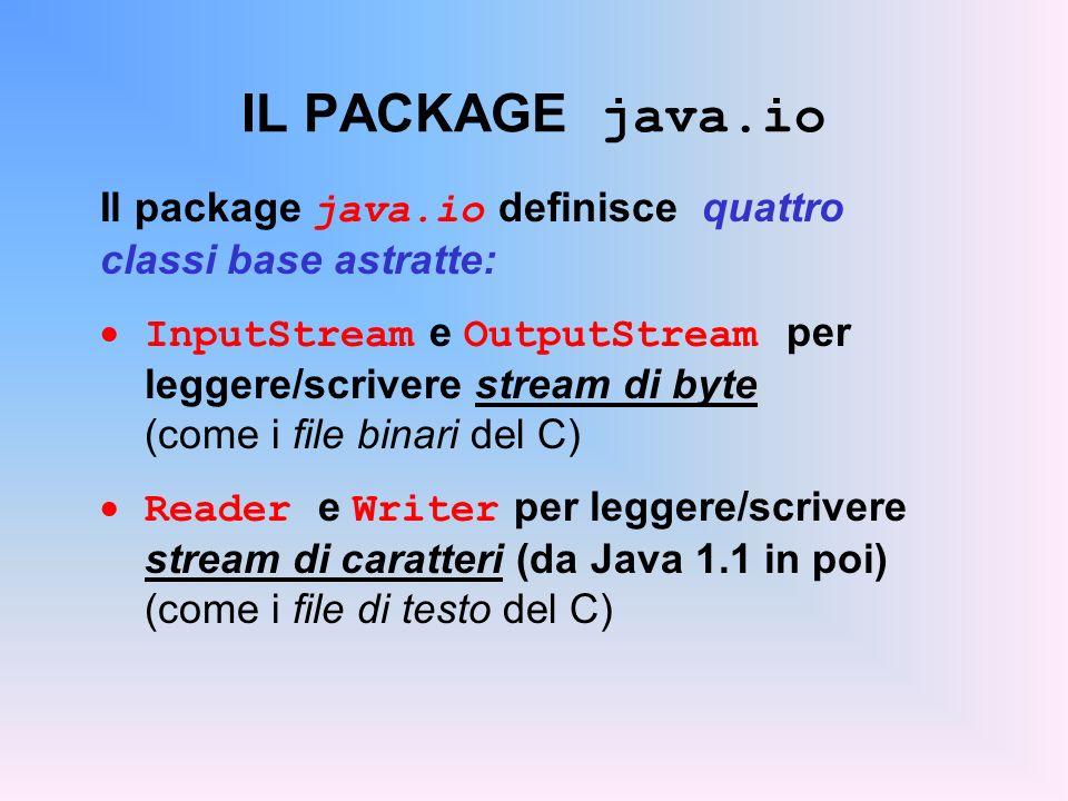 IL PACKAGE java.io Il package java.io definisce quattro classi base astratte: InputStream e OutputStream per leggere/scrivere stream di byte (come i file binari del C) Reader e Writer per leggere/scrivere stream di caratteri (da Java 1.1 in poi) (come i file di testo del C)