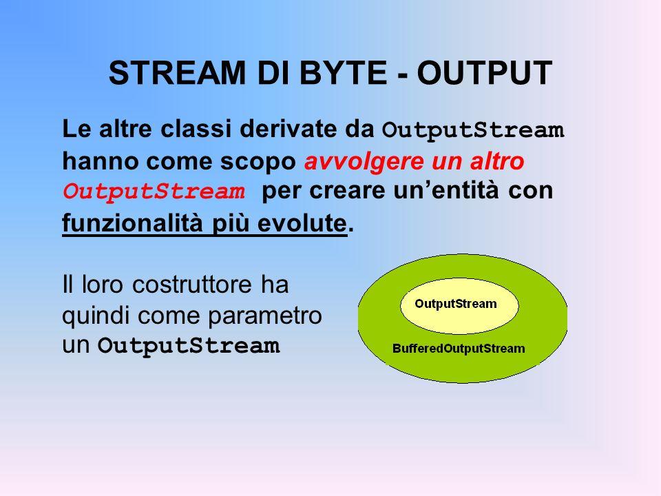 STREAM DI BYTE - OUTPUT Le altre classi derivate da OutputStream hanno come scopo avvolgere un altro OutputStream per creare unentità con funzionalità più evolute.