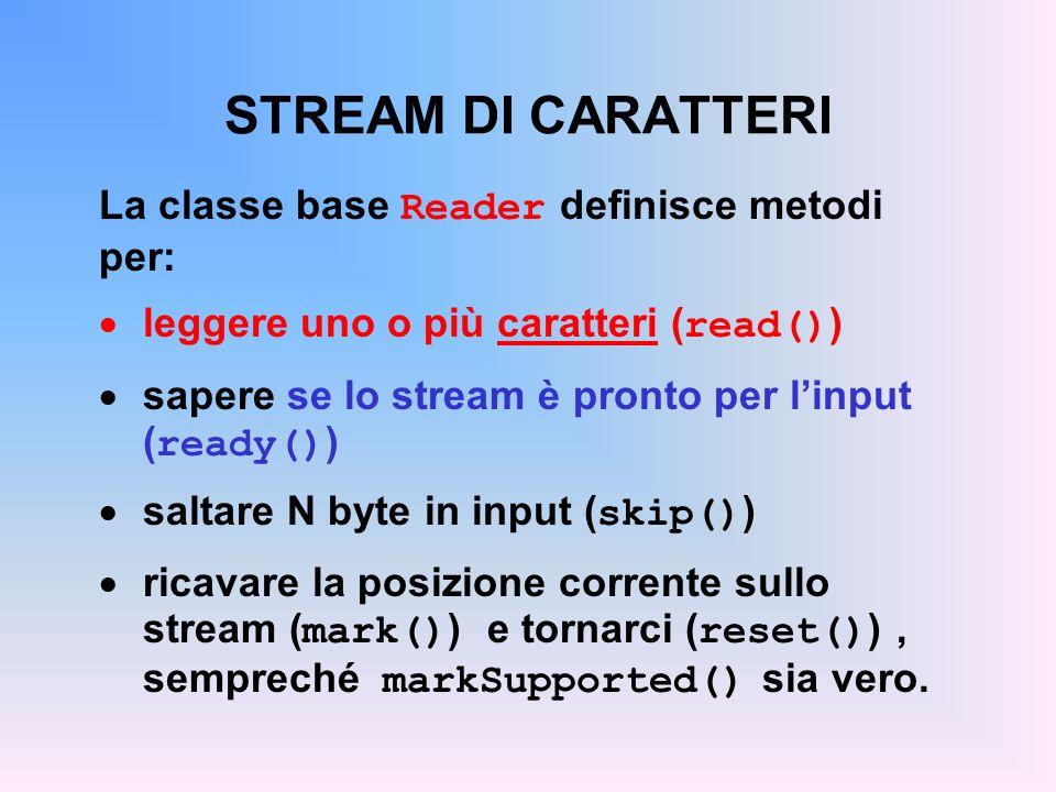 STREAM DI CARATTERI La classe base Reader definisce metodi per: leggere uno o più caratteri ( read() ) sapere se lo stream è pronto per linput ( ready() ) saltare N byte in input ( skip() ) ricavare la posizione corrente sullo stream ( mark() ) e tornarci ( reset() ), sempreché markSupported() sia vero.