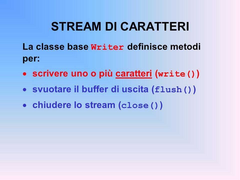 STREAM DI CARATTERI La classe base Writer definisce metodi per: scrivere uno o più caratteri ( write() ) svuotare il buffer di uscita ( flush() ) chiudere lo stream ( close() )