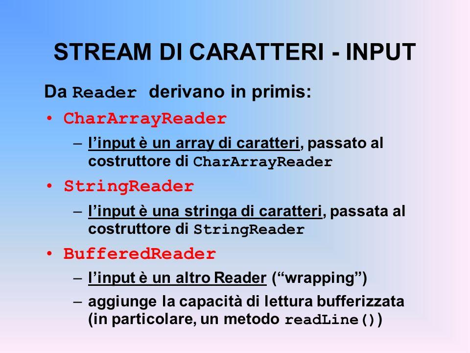 STREAM DI CARATTERI - INPUT Da Reader derivano in primis: CharArrayReader –linput è un array di caratteri, passato al costruttore di CharArrayReader StringReader –linput è una stringa di caratteri, passata al costruttore di StringReader BufferedReader –linput è un altro Reader (wrapping) –aggiunge la capacità di lettura bufferizzata (in particolare, un metodo readLine() )