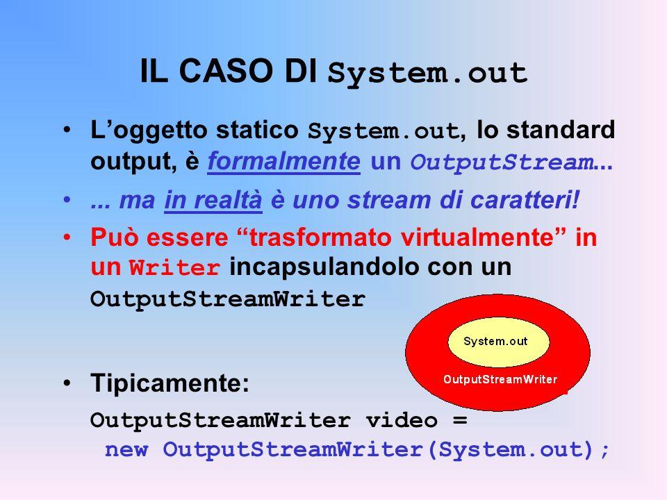 IL CASO DI System.out Loggetto statico System.out, lo standard output, è formalmente un OutputStream......