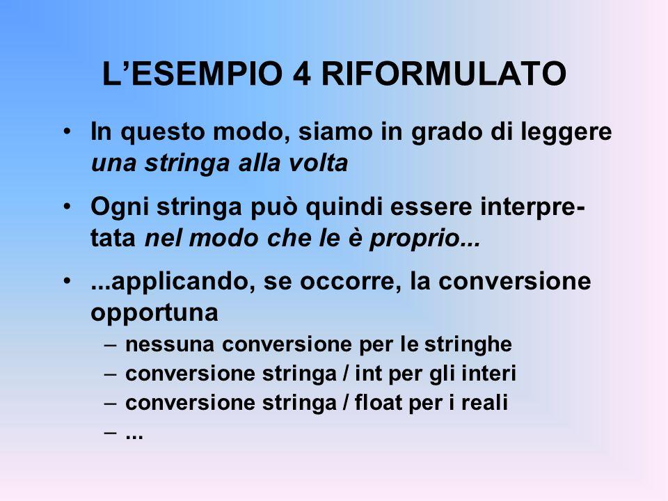 LESEMPIO 4 RIFORMULATO In questo modo, siamo in grado di leggere una stringa alla volta Ogni stringa può quindi essere interpre- tata nel modo che le è proprio......applicando, se occorre, la conversione opportuna –nessuna conversione per le stringhe –conversione stringa / int per gli interi –conversione stringa / float per i reali –...