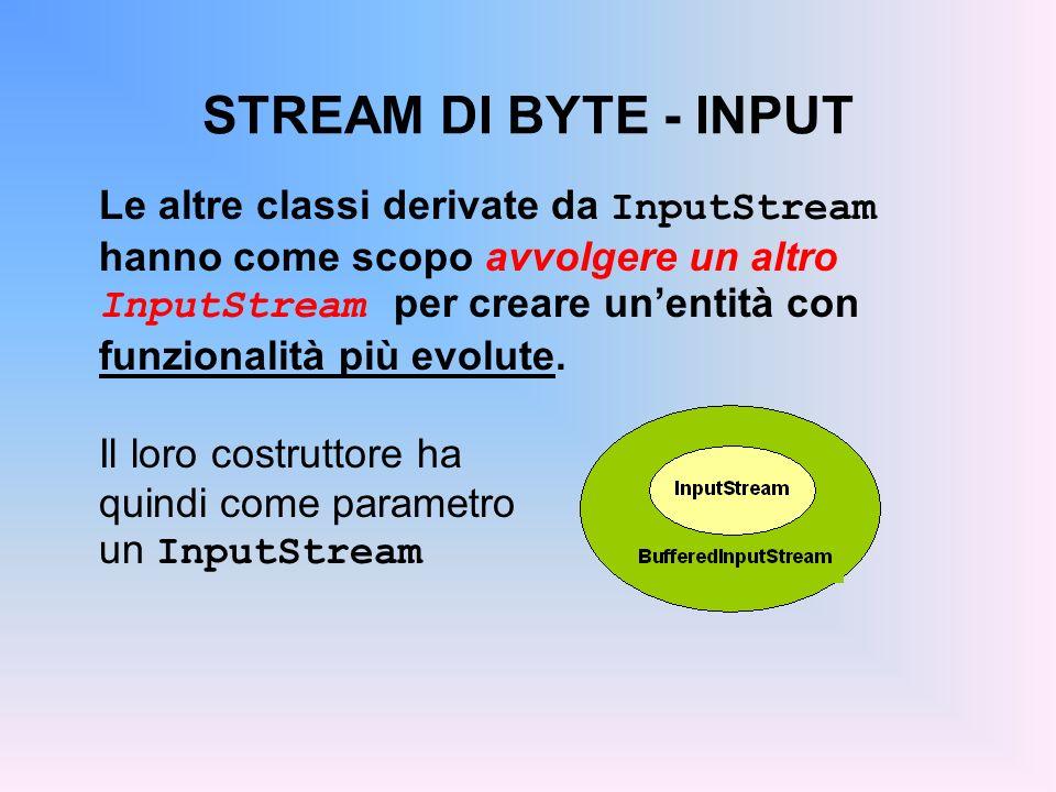 STREAM DI BYTE - INPUT Le due classi principali sono: ObjectInputStream –legge oggetti serializzati salvati su stream –offre metodi per leggere i tipi primitivi e le classi standard ( Integer, etc.) di Java FilterInputStream –definisce il concetto di filtro –modifica il metodo read(), e se occorre anche altri, in modo da effettuare le letture in accordo al criterio di filtraggio richiesto –in pratica si usano le sue sottoclassi
