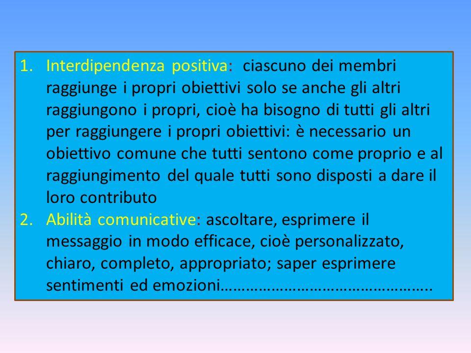 1.Interdipendenza positiva: ciascuno dei membri raggiunge i propri obiettivi solo se anche gli altri raggiungono i propri, cioè ha bisogno di tutti gl
