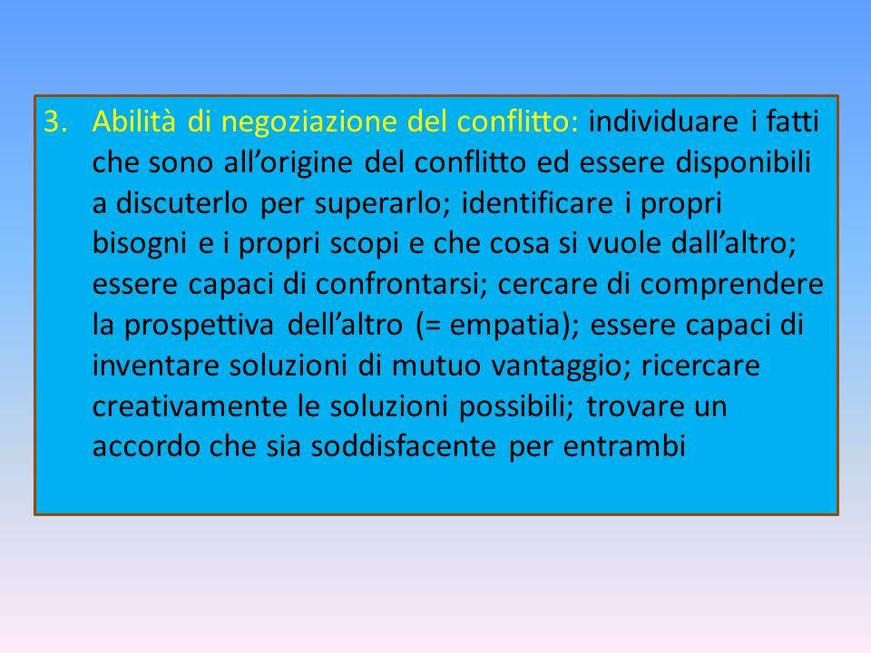 3.Abilità di negoziazione del conflitto: individuare i fatti che sono allorigine del conflitto ed essere disponibili a discuterlo per superarlo; ident