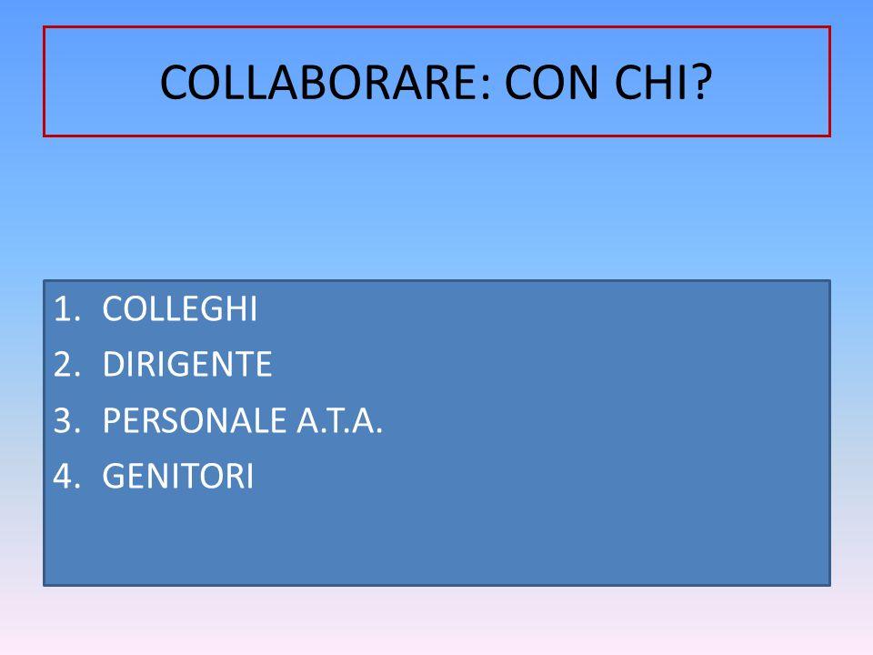 COLLABORARE: CON CHI? 1.COLLEGHI 2.DIRIGENTE 3.PERSONALE A.T.A. 4.GENITORI