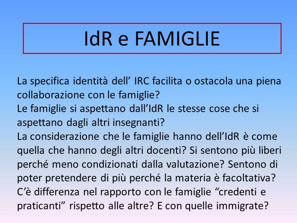 La specifica identità dell IRC facilita o ostacola una piena collaborazione con le famiglie? Le famiglie si aspettano dallIdR le stesse cose che si as