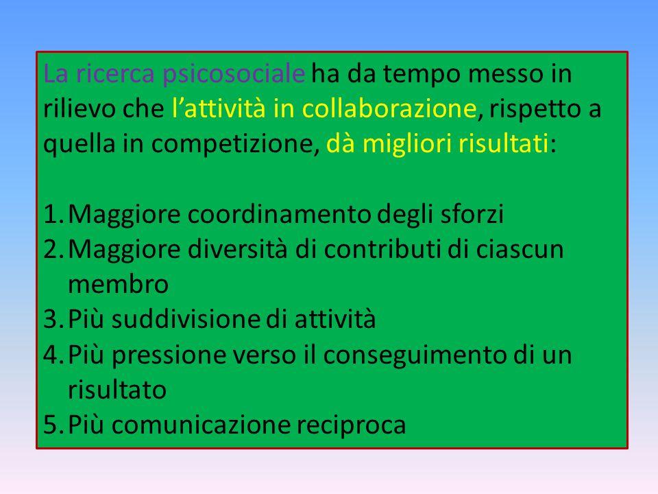 La ricerca psicosociale ha da tempo messo in rilievo che lattività in collaborazione, rispetto a quella in competizione, dà migliori risultati: 1.Magg