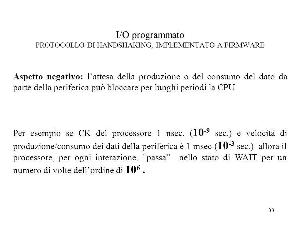 33 I/O programmato PROTOCOLLO DI HANDSHAKING, IMPLEMENTATO A FIRMWARE Aspetto negativo: lattesa della produzione o del consumo del dato da parte della
