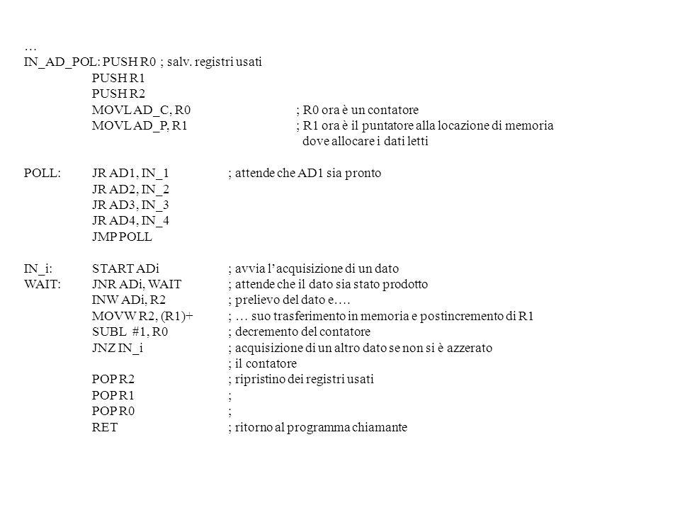 … IN_AD_POL: PUSH R0; salv. registri usati PUSH R1 PUSH R2 MOVL AD_C, R0; R0 ora è un contatore MOVL AD_P, R1; R1 ora è il puntatore alla locazione di