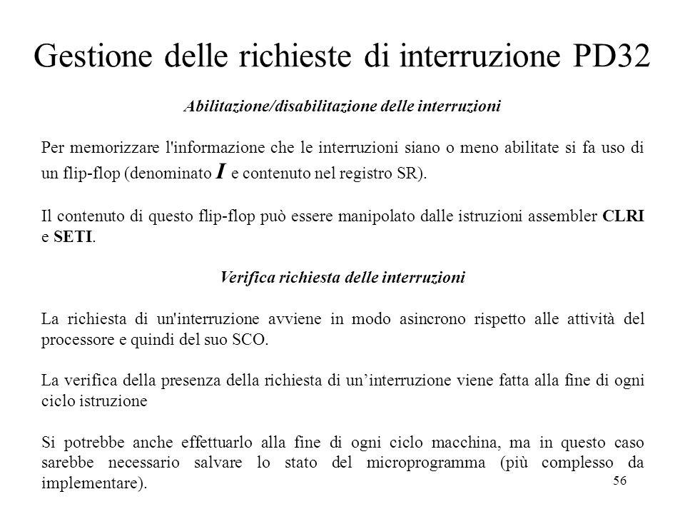 56 Gestione delle richieste di interruzione PD32 Abilitazione/disabilitazione delle interruzioni Per memorizzare l'informazione che le interruzioni si