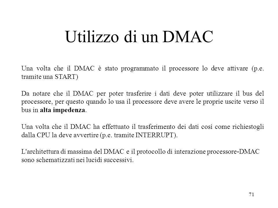 71 Utilizzo di un DMAC Una volta che il DMAC è stato programmato il processore lo deve attivare (p.e. tramite una START) Da notare che il DMAC per pot