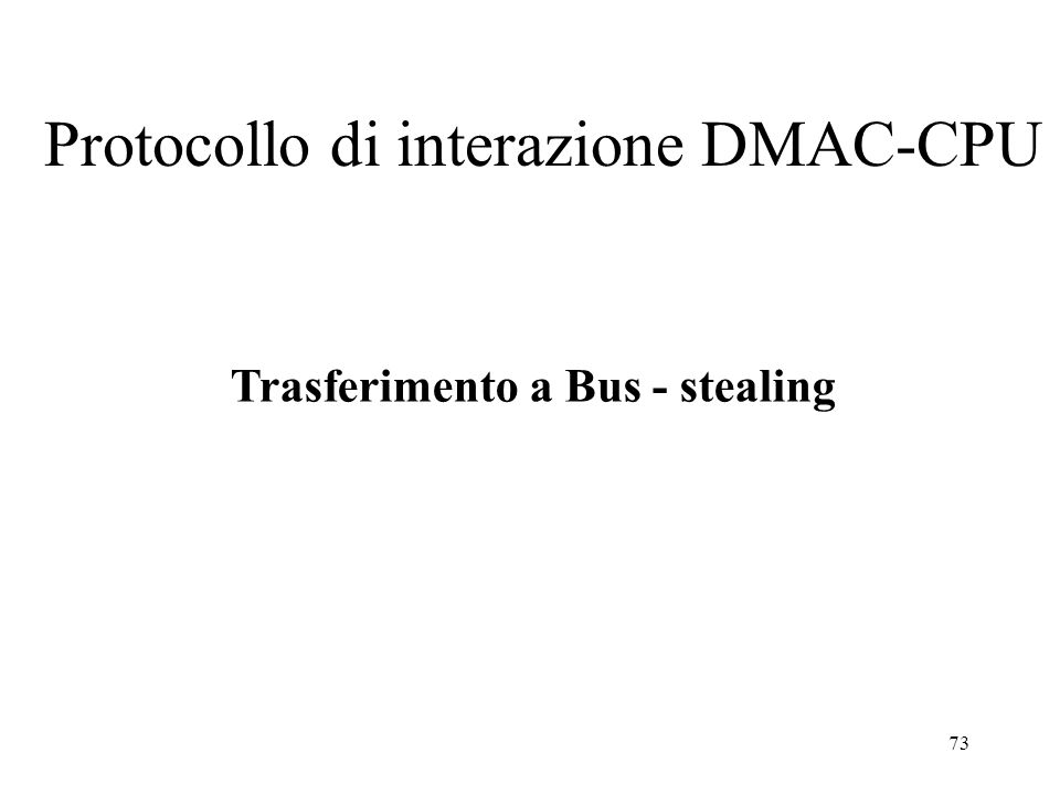 73 Protocollo di interazione DMAC-CPU Trasferimento a Bus - stealing