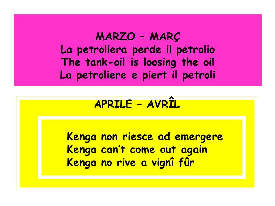 MARZO – MARÇ La petroliera perde il petrolio The tank-oil is loosing the oil La petroliere e piert il petroli APRILE – AVRÎL Kenga non riesce ad emerg