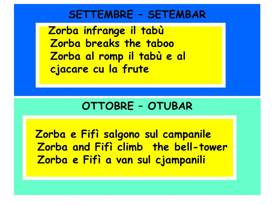SETTEMBRE – SETEMBAR OTTOBRE – OTUBAR Zorba infrange il tabù Zorba breaks the taboo Zorba al romp il tabù e al cjacare cu la frute Zorba e Fifì salgon