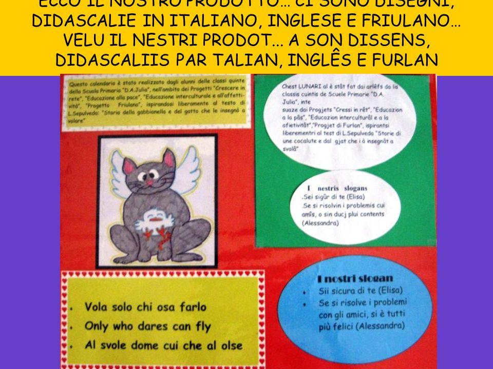 ECCO IL NOSTRO PRODOTTO… CI SONO DISEGNI, DIDASCALIE IN ITALIANO, INGLESE E FRIULANO… VELU IL NESTRI PRODOT... A SON DISSENS, DIDASCALIIS PAR TALIAN,