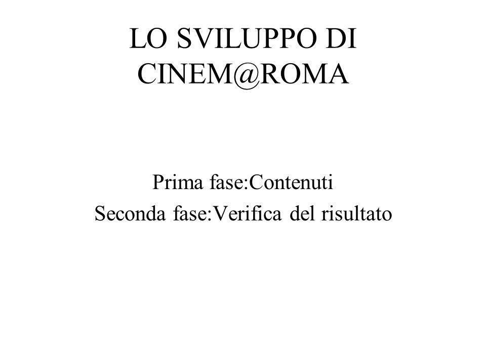 LO SVILUPPO DI CINEM@ROMA: Prima fase Attenzione puntata su cosa offrire: Quali chiavi di ricerca per il film.