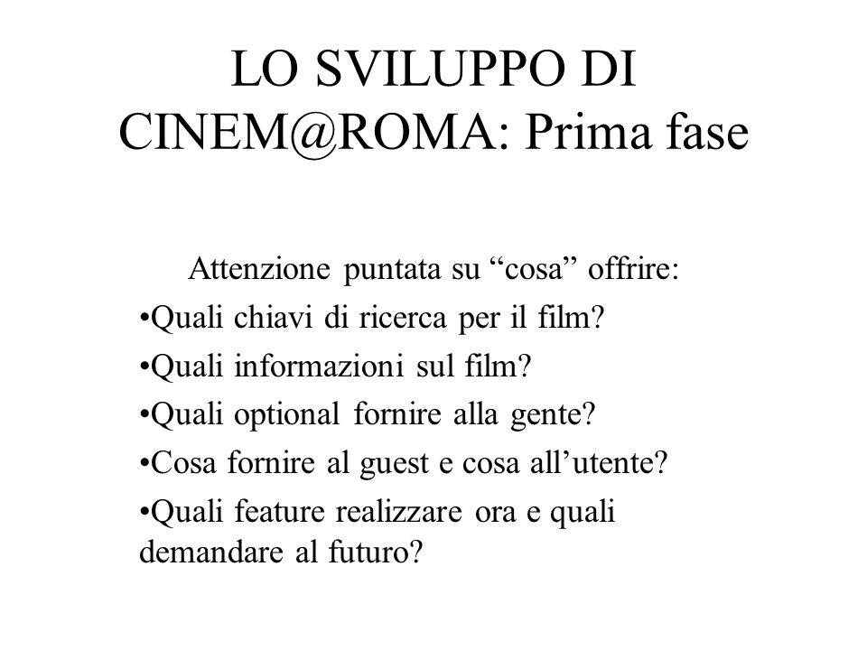 LO SVILUPPO DI CINEM@ROMA: Seconda fase Una volta deciso cosa realizzare, verificare se soddisfa le aspettative utente.
