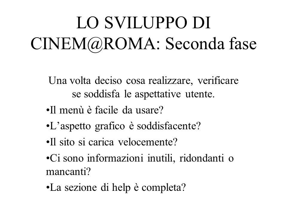 LO SVILUPPO DI CINEM@ROMA: Il processo realizzativo Nel corso della realizzazione di CINEM@ROMA sono stati sfruttati: Principi generali Analisi delle interviste e dei questionari