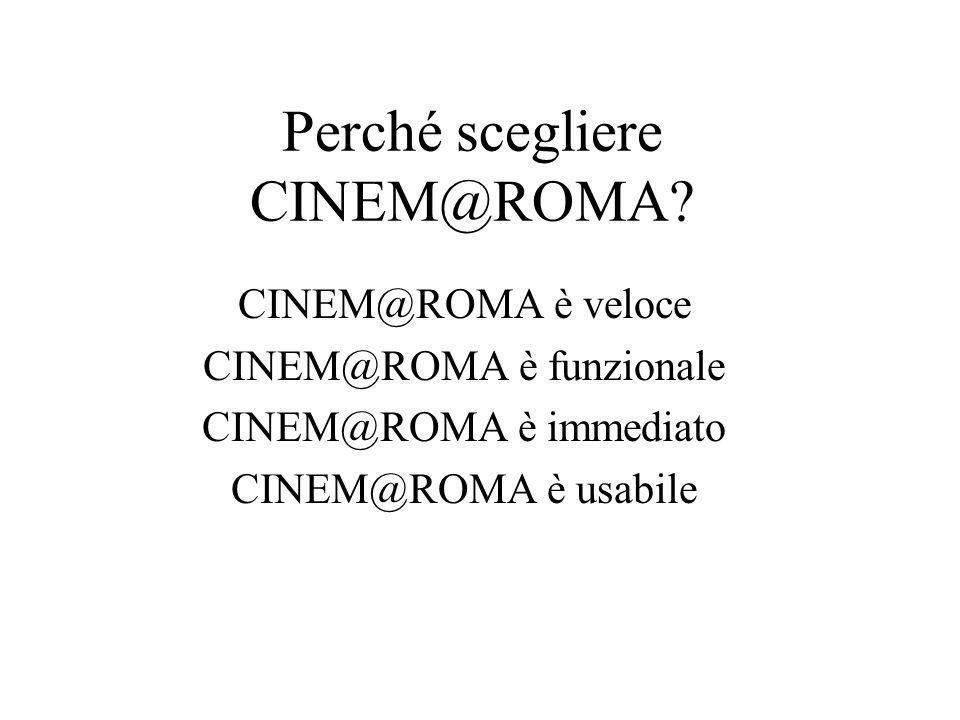 Comè fatto CINEM@ROMA? Ha una barra laterale di menùHa una grande pagina di visualizzazione