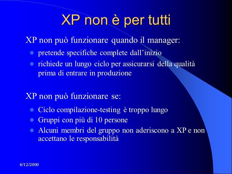 6/12/2000 XP non è per tutti pretende specifiche complete dallinizio richiede un lungo ciclo per assicurarsi della qualità prima di entrare in produzione XP non può funzionare quando il manager: XP non può funzionare se: Ciclo compilazione-testing è troppo lungo Gruppi con più di 10 persone Alcuni membri del gruppo non aderiscono a XP e non accettano le responsabilità