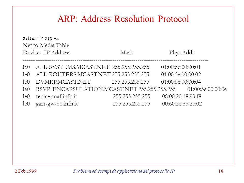 2 Feb 1999Problemi ed esempi di applicazione del protocollo IP18 ARP: Address Resolution Protocol astra.~> arp -a Net to Media Table Device IP Address