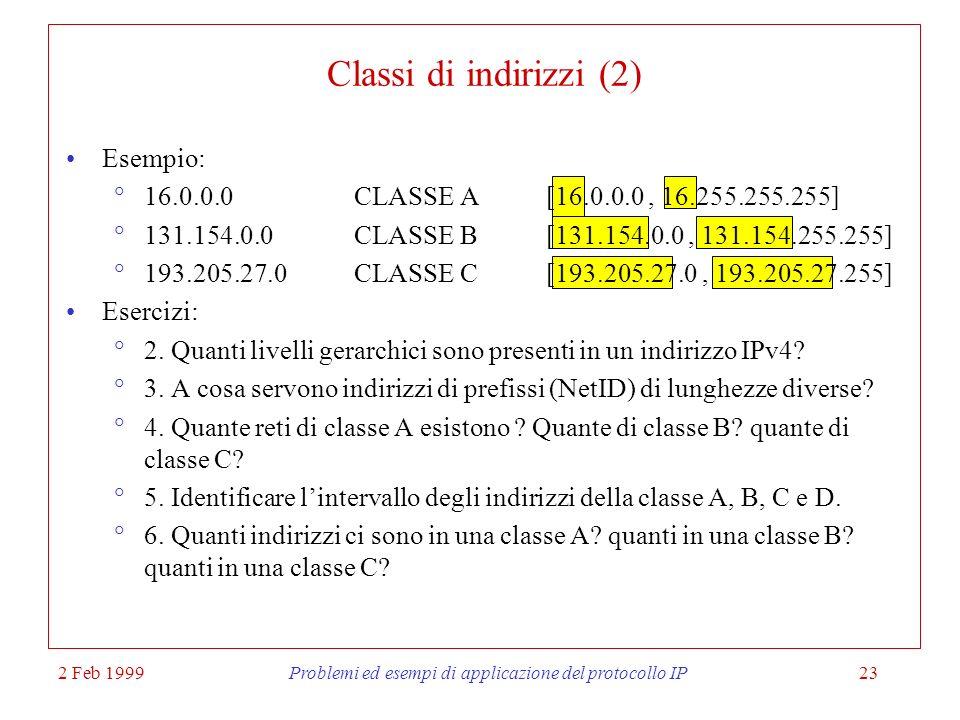 2 Feb 1999Problemi ed esempi di applicazione del protocollo IP23 Classi di indirizzi (2) Esempio: 16.0.0.0CLASSE A [16.0.0.0, 16.255.255.255] 131.154.