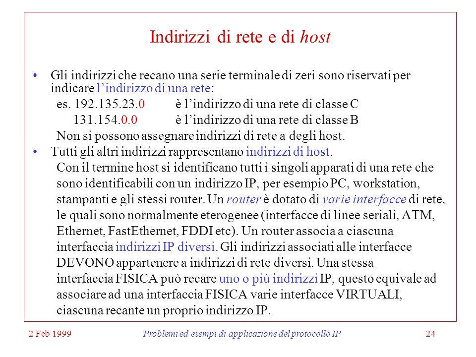2 Feb 1999Problemi ed esempi di applicazione del protocollo IP24 Indirizzi di rete e di host Gli indirizzi che recano una serie terminale di zeri sono