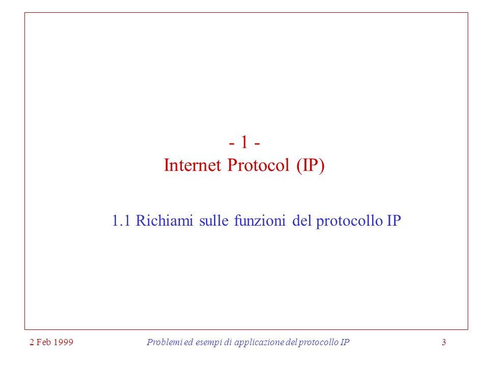 2 Feb 1999Problemi ed esempi di applicazione del protocollo IP24 Indirizzi di rete e di host Gli indirizzi che recano una serie terminale di zeri sono riservati per indicare lindirizzo di una rete: es.