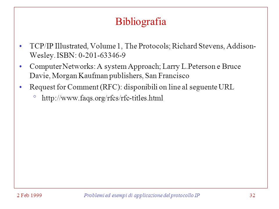 2 Feb 1999Problemi ed esempi di applicazione del protocollo IP32 Bibliografia TCP/IP Illustrated, Volume 1, The Protocols; Richard Stevens, Addison- W