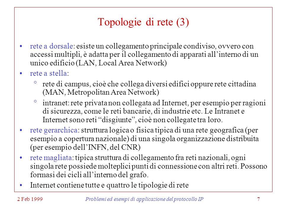 2 Feb 1999Problemi ed esempi di applicazione del protocollo IP7 Topologie di rete (3) rete a dorsale: esiste un collegamento principale condiviso, ovv