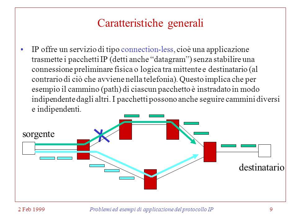 2 Feb 1999Problemi ed esempi di applicazione del protocollo IP10 Caratteristiche generali (2) Il protocollo è unreliable, ovvero IP non è in grado di riconoscere la perdita di un pacchetto.