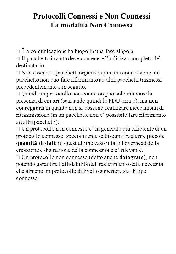 Protocolli Connessi e Non Connessi La modalità Non Connessa • L a comunicazione ha luogo in una fase singola. • Il pacchetto inviato deve contenere l'