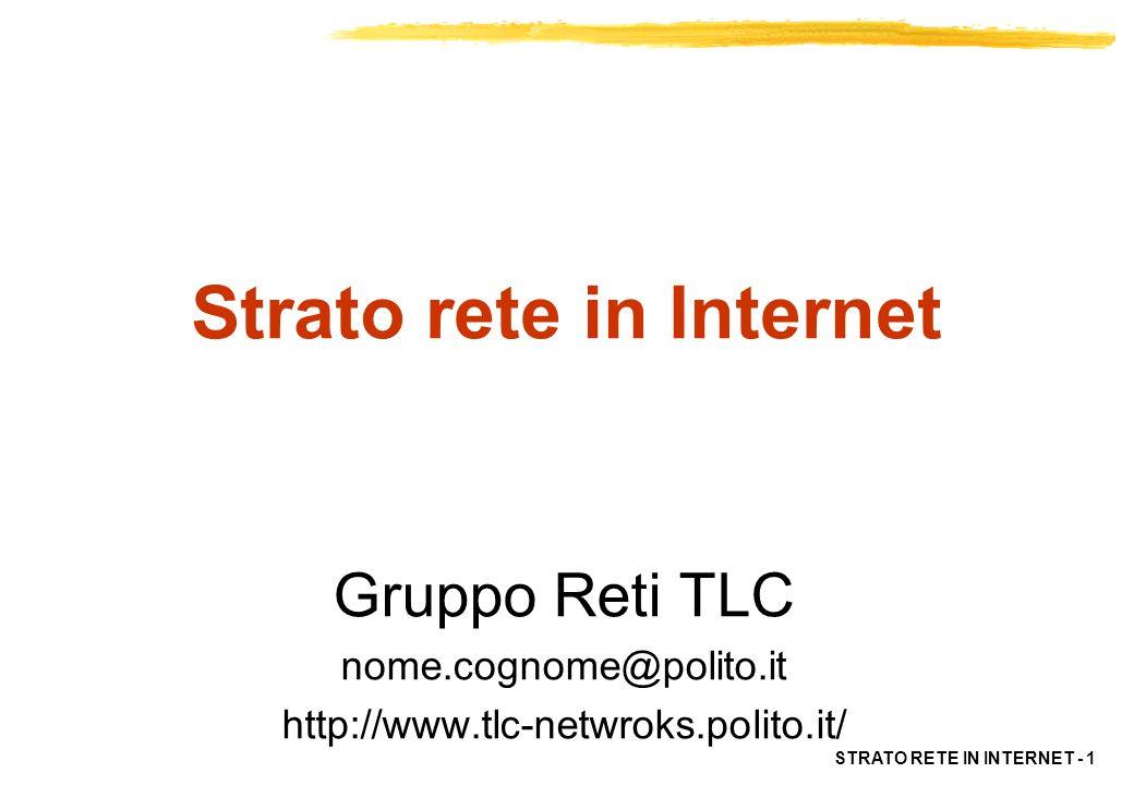 STRATO RETE IN INTERNET - 2 OSI Application Presentation Session Transport Network Data Link Physical Non Specificati IP TCP e/o UDP RPC XDR NFS Internet Protocol Suite ARP | RARP ICMP Protocolli di routing Telnet FTP SMTP SNMP Internet protocol suite