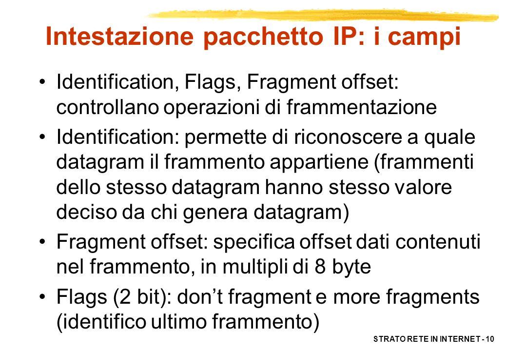 STRATO RETE IN INTERNET - 11 Intestazione pacchetto IP: i campi TTL (time to live): –tempo di vita (in hop) di un datagram –Ogni router decrementa di 1 il valore di TTL –Se TTL=0 scarta datagram ed invio messaggio di errore Protocol: formato dei dati specificando un protocollo di livello superiore Header Checksum (16 bit): controllo di errore sulla sola intestazione, non sui dati utente.