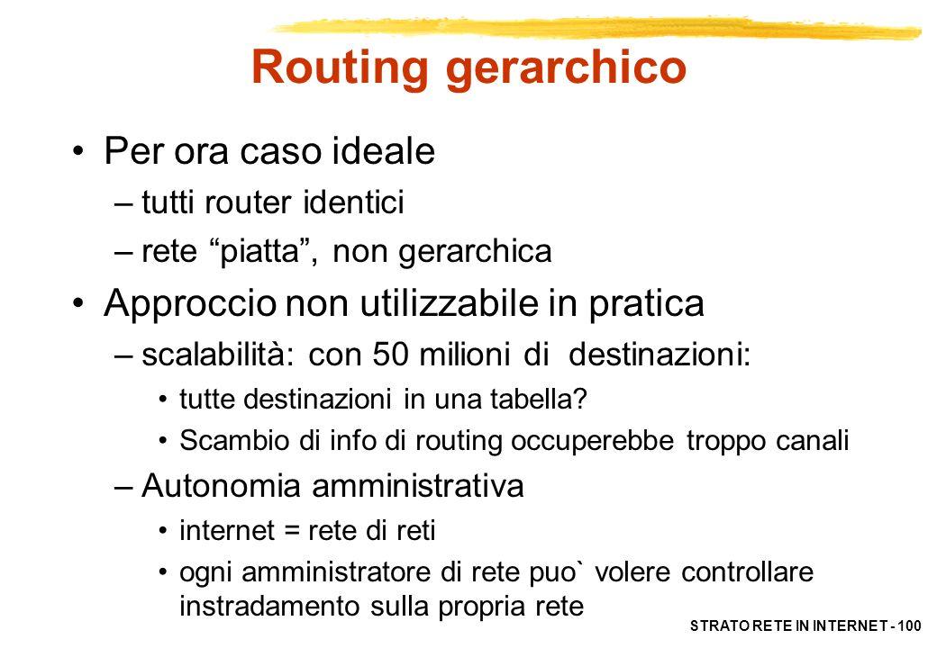STRATO RETE IN INTERNET - 101 Routing gerarchico Router aggregati in regioni, dette Autonomous System (AS) –Insieme di router con struttura complessa (molte sottoreti e router) ma unica identità amministrativa –Router nello stesso AS usano stesso protocollo di instradamento –Protocolli di instradamento intra-AS (IGP: Interior Gateway Protocol) Router in AS diversi possono usare protocolli IGP diversi (aggiornamento e validazione circoscritti)