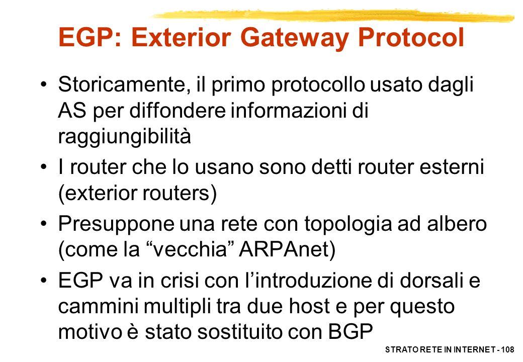STRATO RETE IN INTERNET - 108 EGP: Exterior Gateway Protocol Storicamente, il primo protocollo usato dagli AS per diffondere informazioni di raggiungi